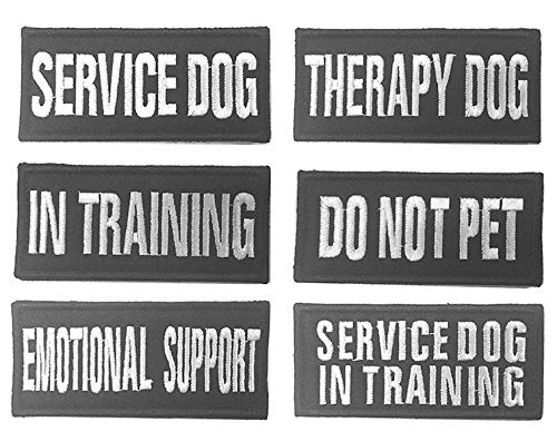 Antrix Bundle 6 Pieces Service Dog/Therapy Dog/I n Training/Do Not Pet/Emotional Support/Service Dog in Training Embroidered Morale Badge Patches for Dogs and Pets - 4x1.5""