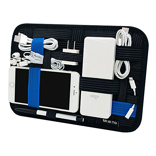 Munto Electronics Travel Organizer Bag, Elastic Cable Organizer Board for Electronics Accessories, Large