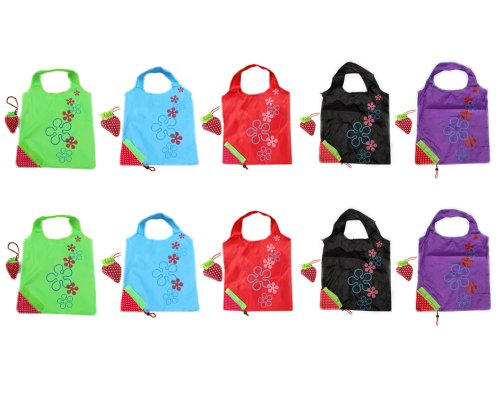 Folding Shopper - Reusable Grocery Bags, BONAMART Strawberry Shopping Tote Bag Folding In Pouch, Wholesale Lots 10 Assorted Colors Eco Cute Expandable