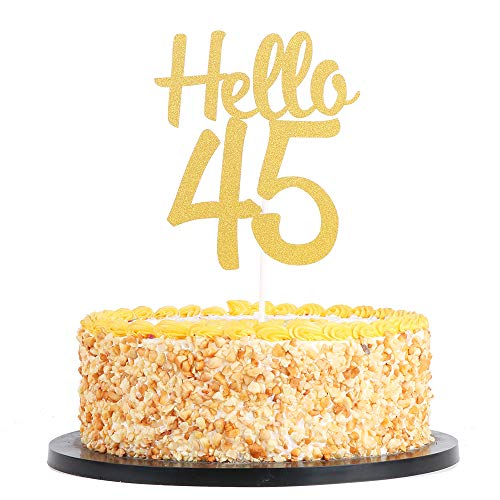 Price comparison product image QIYNAO Gold Glitter Hello 45 Cake Topper,  Cheers To 45 Years- Dirty Forty-five Cake Topper - Anniversary, Birthday Party Decoration (45th)