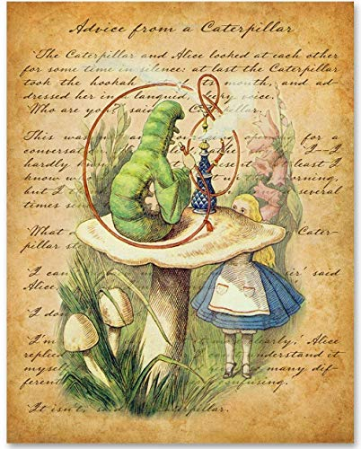 Alice in Wonderland - Advice From a Caterpillar - 11x14 Unframed Alice in Wonderland Print- Makes a Great Gift Under $15 for Disney Fans or Kids Room