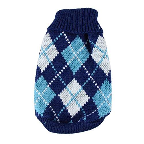 Coper Winter Puppy Small Dog Baby Fashion Casual Warm Sweater Crochet (Blue, XS)