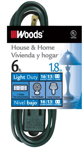 - Woods 3-Outlet Indoor Extension Cords, Green