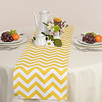 Delightful Appleberry Attic Chevron Table Runner Collection (Yellow) Handmade In USA
