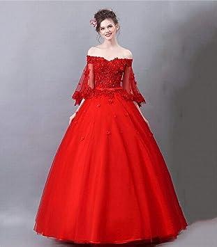 TY-ER Vestido de Novia Hada Belleza Trompeta Romántica Mangas Vestido de Novia Rojo Vestido