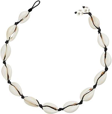 collar de tejido negro para mujeres y ni/ñas Gargantilla de perlas de concha natural hecha a mano con cuerda de playa hawaiana