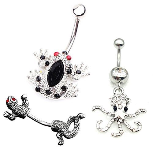 richbest 3Pcs 14G Stainless Steel Belly Button Rings For Women Navel Bars Body Piercing Silver Frog.gecko.octopus