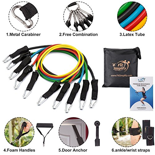 Large Product Image of Fit Simplify Resistance Band Set 11 Pieces with Exercise Tube Bands, Door Anchor, Ankle Straps and Carry Bag - Bonus Instruction Booklet, Ebook and Online Workout Videos