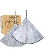 Hand Towels for Kitchen - Soft, Absorbent Charcoal Fiber Bathroom Hand Towels | Kitchen Towels with Hanging Loop, Round Hand Towels with Coconut Shell Button for Hanging | Set of 2 Gray Towels