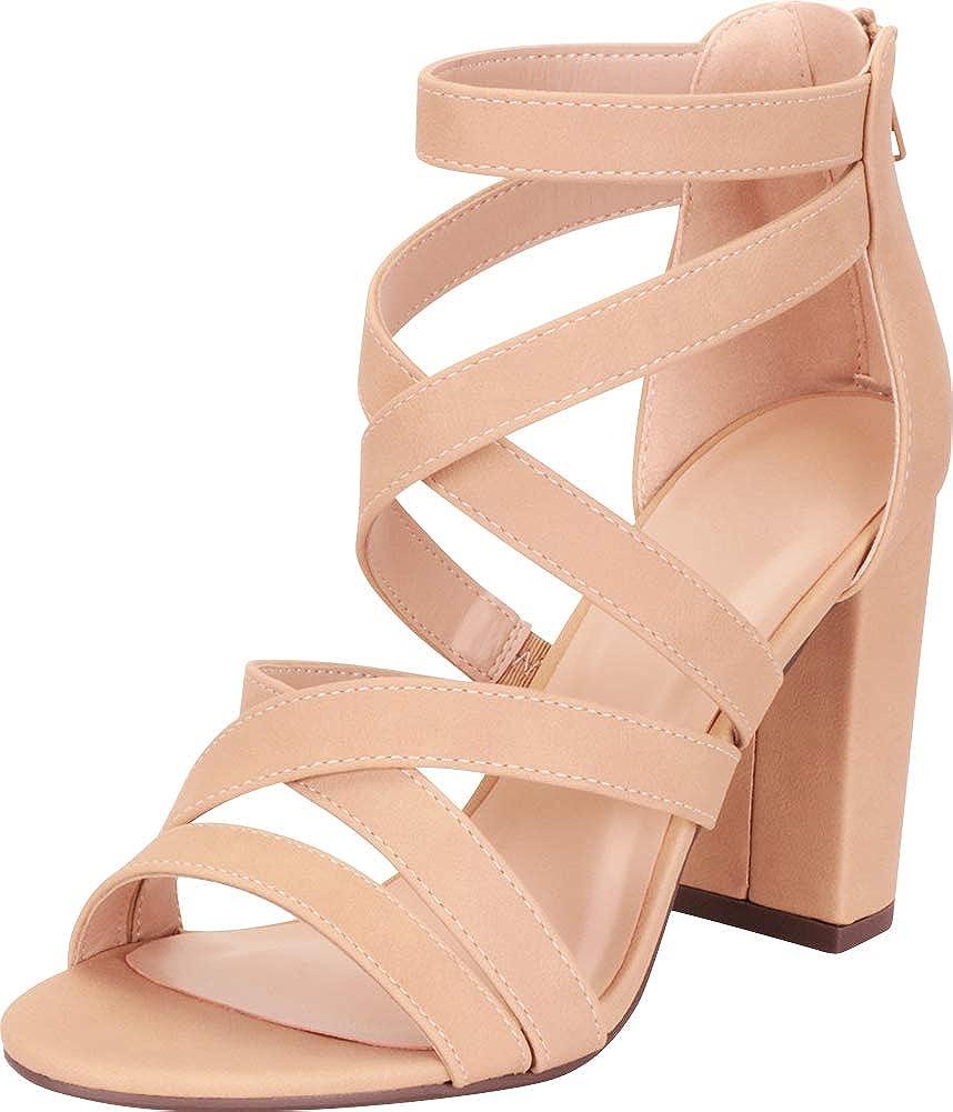 Natural Nbpu Cambridge Select Women's Open Toe Crisscross Strappy Chunky Block High Heel Sandal