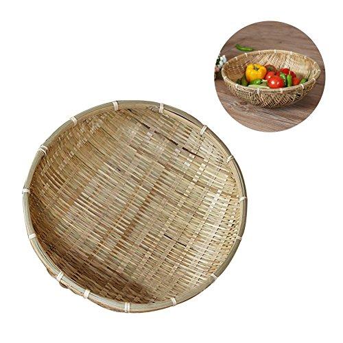 (Natural Handmade Woven Bamboo Baskets Dustpan Fruits Vegetables Snack Bread Storage Basket Draining Plate)