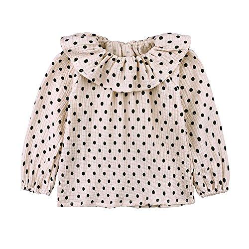 Blend Blouse (LOOLY Baby Girls Cotton Linen Blend Long Sleeve Elastic Cuff Dot Blouse White 80)