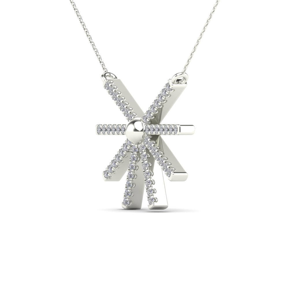 JewelAngel 10k White Gold 1//8ct TDW Diamond Sunburst Pendant Necklace H-I, I1-I2