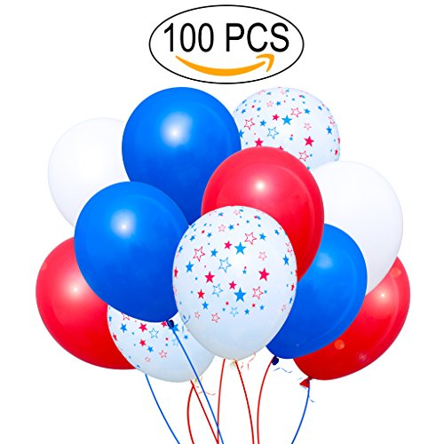 100 Premium Quality Balloons: white blue red and star latex balloons birthday party decoration and events!
