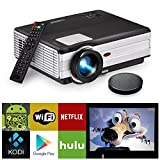 EUG Wireless LCD Projector  Support HD 1080P 720P HDMI USB Miracast Airplay WiFi,  3500 Lumen Digital Video Projectors for Home Theater Cinema Indoor Outdoor Entertainment,with Speakers Keystone