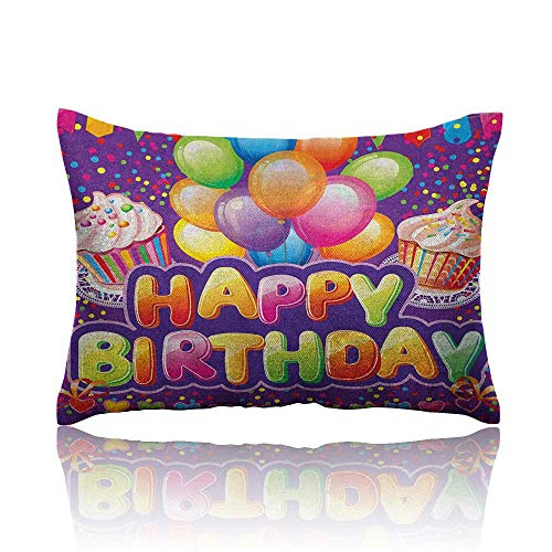 Anyangeight Birthday Throw Pillowcase Purple Colored Backdrop with Creamy Cupcakes Hearts Confetti Rain and Balloons Cold Pillowcase 18
