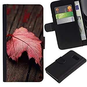 All Phone Most Case / Oferta Especial Cáscara Funda de cuero Monedero Cubierta de proteccion Caso / Wallet Case for Samsung Galaxy S6 // Red Leaf