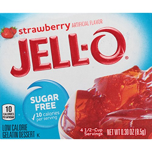 JELL-O Strawberry Sugar Free Gelatin Dessert Mix (0.30 oz Boxes, Pack of 6)