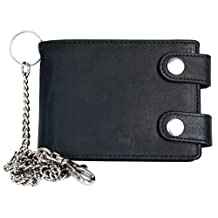 Men's Black Biker's Pocket Sized Strong Genuine Leather Wallet with 20 Inch Long Chain to Hang
