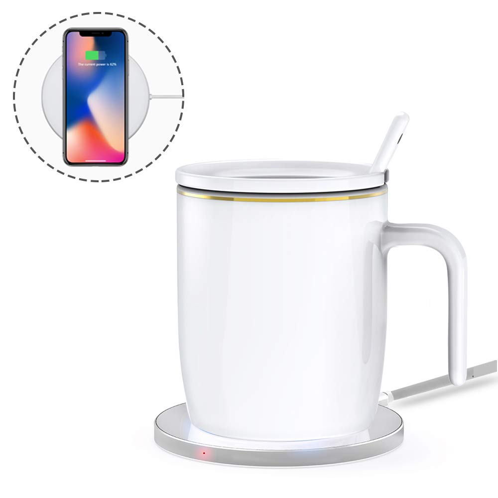 Coffee Mug Warmer with Wireless Charger, R9 2-in-1 Mug Set Coffee Tea Milk Cup Warmer & Smartphone Wireless Charger Auto Shut Off Constant Temperature about 122°F/ 50°C Desk/Office/Home Use Best Gift