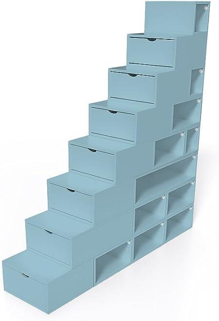 ABC MEUBLES - Escalera Cubo para Guardar Cosas 200 cm - ESC200 - Azul pálido: Amazon.es: Hogar