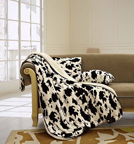 Cow Pattern (Regal Comfort Cow White Sherpa Luxury Throw Western Style 3pc Set Blanket White 50