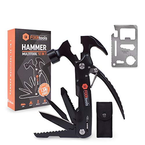 Multitool Hammer - Camping Gear Survival Tool - Gift for Dad, Boyfriend, Husband - Gifts from Daughter Son - Cool Gadget for Men - With 11 in 1 Credit Card Multitool - Must have Man tool, Dad Gift