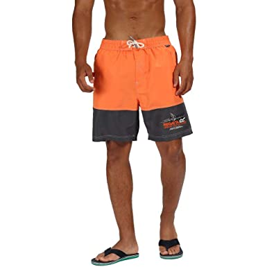 d0571833b1 Regatta Men's Bratchmar III Quick Drying Mesh Lined Swim Shorts, Blaze  Orange/Seal Grey