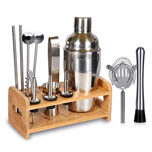 15 Piece Bartender Kit Cocktail Shaker Set with Stand: Home Bar Tools Set - Shaker with Strainer, Muddler, Jigger, Stand, Ice Thong and More - with Cocktail Recipes - Cocktail Shaker Stainless Steel by SUPERSUN
