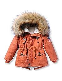 Desirca Thick Children Jackets Girls Boys Coats Hooded Faux Fur Collar Kids Outerwear Cotton Padded Baby Girl Boy Snowsuit
