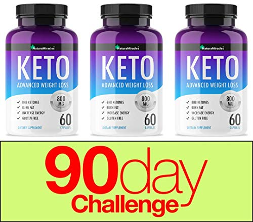 Keto Diet Advanced Fat Burner by Natura Miracles -800MG - Burn Fat Instead of Carbs - Advanced Weight Loss Ketosis Supplement - 180 Capsules - 90 Days Supply (3 Bottles) (Dr Oz Miracle Pill For Weight Loss)