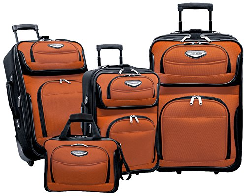 Traveler's Choice Amsterdam 4-Piece Luggage Set, Orange ()