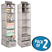 mDesign Soft Fabric Over Closet Rod Hanging Storage Organizer with 7 Shelves and 3 Removable Drawers for Child/Baby Room or Nursery - Textured Print - Pack of 2, Linen