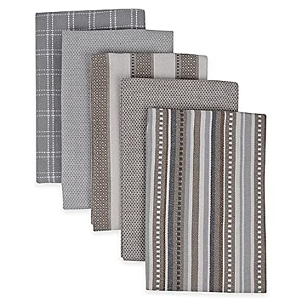 Superieur Performance 5 Pack Kitchen Towels In Grey