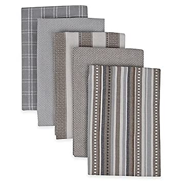 Superior Performance 5 Pack Kitchen Towels In Grey