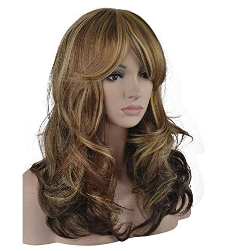 (eNilecor 3 Tones Blonde Mixed Wigs 20 Inch Medium Long Curly Full Natural Women Heat Resistant Synthetic Highlights Hair Custom Party Wig with Side Bangs+ Wig Cap)
