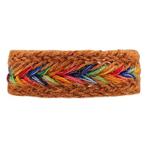Winter's Secret Handmade Braided Seven Rainbow Color Orange Hemp Rope Wrap Charming Adjustable - Free Duty Dallas