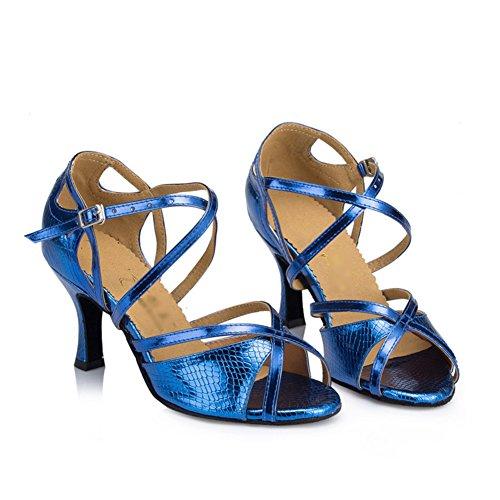 WYMNAME Womens Chaussures De Danse Latine,High Heels Fond Mou Peep-Toe Chaussures De Danse Sociale Sandale Bleu Marine