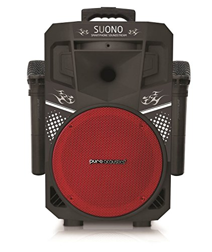 Pure Acoustics Wireless Portable Bluetooth PA Audio Speaker with 2 Wireless Microphones FM Radio Party Karaoke Machine Sound System MCP-75 Suono Soundstream Red & Black