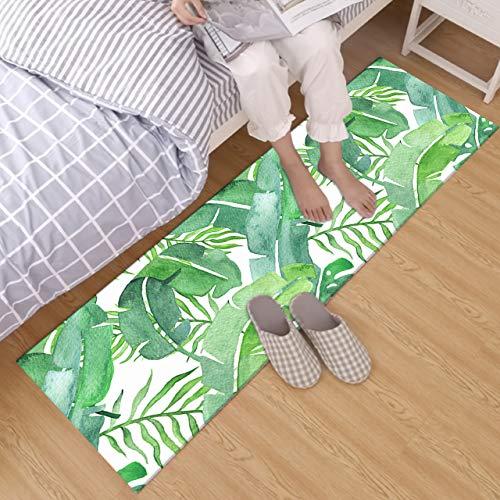 HVEST Banala Leaf Rug Green Palm Leaves Carpet Watercolor Tropical Foliage Non-Slip Runner Rug for Living Room Bedroom Kitchen Floor Area Rugs,(1'4