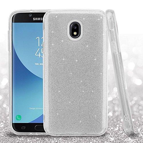Silver Stars Case Design (JoJoGoldStar Slim Fit Case for Samsung Galaxy J7 2018/J7 Refine/J7 Star/J7 Top, Glitter Design Silicon TPU Soft Cover, Comes with Film Screen Protector and Stylus - Silver)