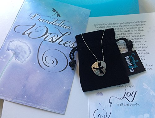Smiling Wisdom - Dragonfly Cutout Dandelion Wishes Gift Set - Stainless Steel Heart & Cutout Dragonfly Pendant Necklace - Wishes of Joy - Birthday or Anytime Gifts - Girls, Teens, Women