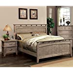 HOMES: Inside + Out 3 Piece ioHOMES Euna Rustic I Bed Set with 2 Nightstands, Queen, Weathered Oak