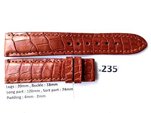 H235 # GENUINE ALLIGATOR CROCODILE LEATHER SKIN WATCH STRAP BAND brown 20mm/18mm