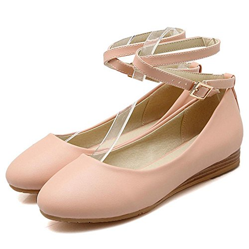 Asian Strap Toe Women's Heel Round TAOFFEN Shoes Ankle Lovely 34 Size Court Low Pink wSfOppqx0