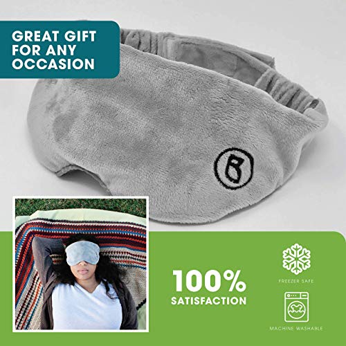BARMY Weighted Sleep Mask for Women and Men, Weighted Eye Mask for Sleeping, Eye Cover That Blocks Out Light to Help Relaxation and Night Sleep, Comfortable Blackout Sleeping Mask, 0.8lbs, Gray