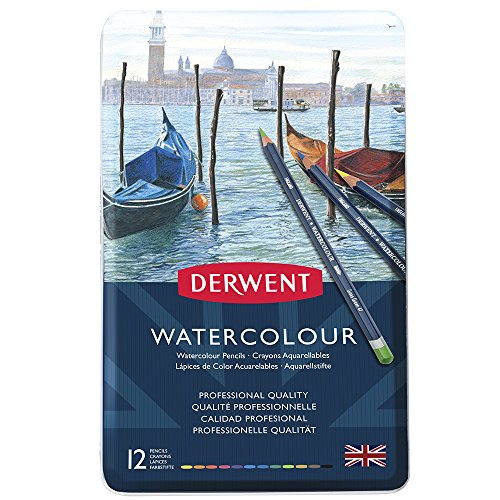 Derwent Colored Pencils, WaterColour, Water Color Pencils, Drawing, Art, Metal Tin, 12 Count (32881)