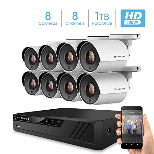 Amcrest ProHD 1080p 8CH Home Security Camera System with 8 x 2-Megapixel Weatherproof Outdoor Security Cameras, 2MP DVR w/Pre-Installed 1TB Hard Drive, Night Vision, BNC Cables (AMDV20M8-8B-W)
