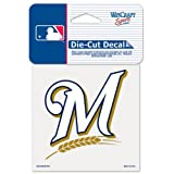 """MLB Milwaukee Brewers 93836010 Perfect Cut Color Decal, 4"""" x 4"""", Black"""
