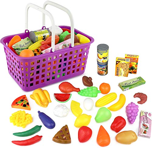 Click n' Play 33 Pc. Kids Pretend Play Grocery Shopping Play Toy Food Set, Fruit and Vegetable with Shopping Basket (Still Be Playing With Pots And Pans)